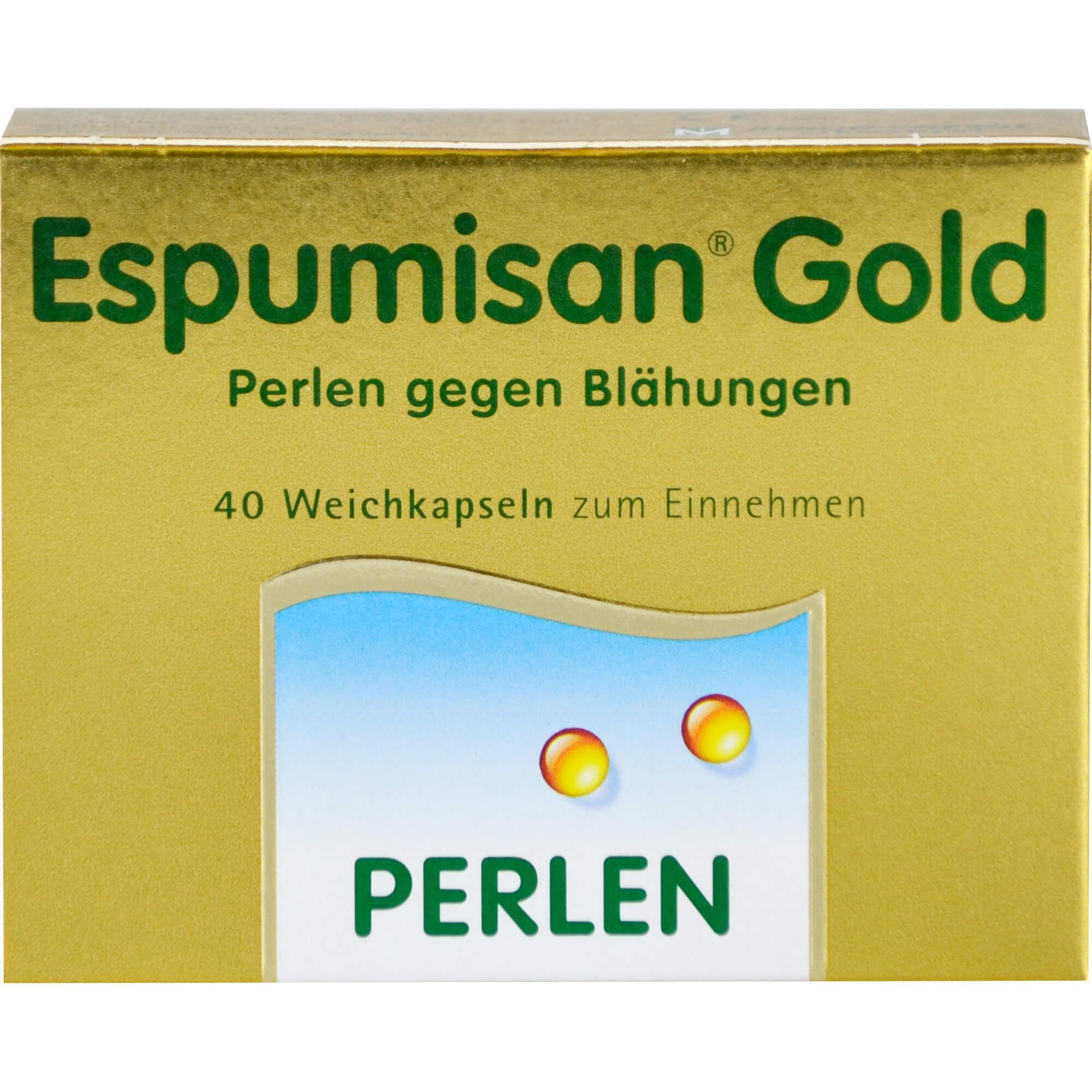 ESPUMISAN-Gold-Perlen-gegen-Blaehungen