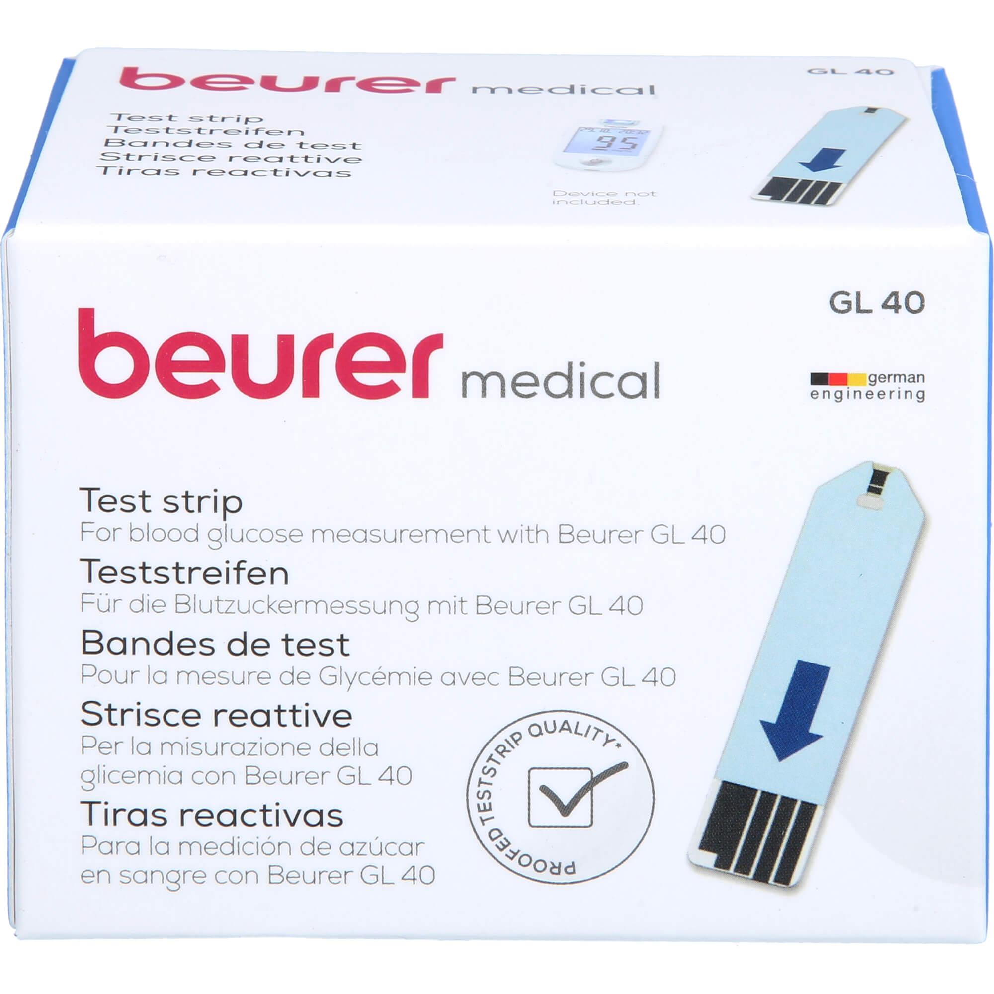 BEURER-GL40-Blutzuckerteststreifen